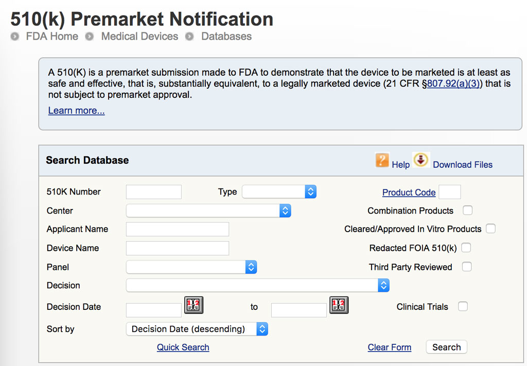 FDA 510(k) Premarket Notification database website